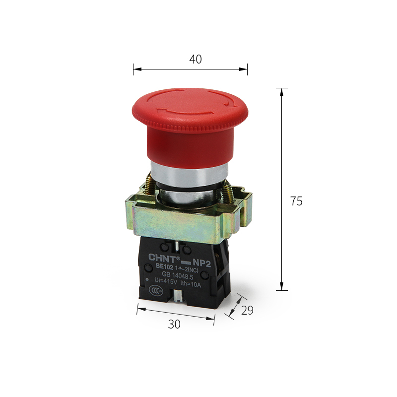 NP2-BS542 Emergency stop button switch a normally closed metal mushroom head self-locking